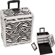 White Interchangeable Zebra Textured Print Professional Rolling Makeup Case With Split Drawers