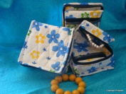 Cosmetic Organiser Jewellery Organiser Travel Pouch in Beautiful Yellow Blue Floral Design Made with Quilted Cotton