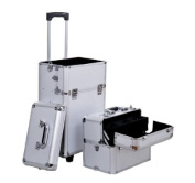Soozier 2in1 Professional Makeup Artist Cosmetic Rolling Train Travel Case w/ Handle and Wheels - Silver