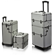 Rolling Cosmetic Makeup Case 2 IN 1 Make Up Artist Case Aluminium Construction