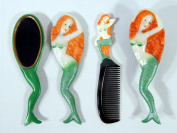 Handpainted Green Mermaid Hair Brush Mirror Comb Set