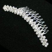 Round Crystals 3Row Checker Pattern Upright Hair Comb