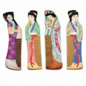 Hand-painted Wood Combs - Set of 4