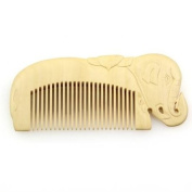 Crystalmood Relief Carved Seamless Boxwood Hair Comb Elephant 12.4cm