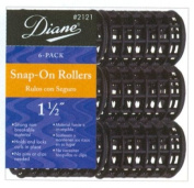 Diane 3.8cm Black Snap-On Rollers 6-Piece #2121