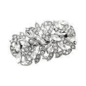 Bridal Wedding Jewellery Crystal Navette Wide Sparkle Hair Barrette Clip Silver