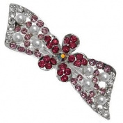 Monica Silver Pink Fuchsia Crystal Pearl Bow Barrette