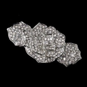 Ambrosia Rhinestone Covered Flower Hair Barrette - Special Occasion, Prom, Party