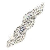 Bridal Wedding Hair Jewellery Sparkling Interlaced Design Barrette Clip Silver AB