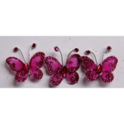 Gift Square 2.5cm Organza Butterfly Clip Wedding Favour 20 Pack - Fuchsia
