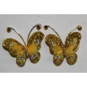 Gift Square 2.5cm Organza Butterfly Clip Wedding Favour 20 Pack - Gold