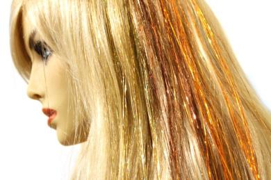 50.8cm Hair Tinsel 180 Strands Three Colours (Sparkling Gold, Shiny Orange, Shiny Brown) With Bonus