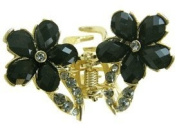 Butterfly and Black Floweres Hair Clasp With Grey Rhinestones