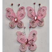 Gift Square 5.1cm Organza Butterfly Clip Wedding Favour 20 Pack - Pink