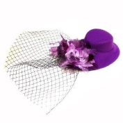 Fashion Elegant Veiled Oval Hat with Sparkly Detailed Flowers Rosette & Veil Fascinator Clip --Purple