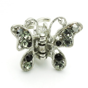 DoubleAccent Hair Jewellery Butterfly Small Hiar Jaws With Crystal petals Set Of Two Black Colour
