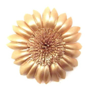 Golden Sunflower Genuine Leather 2-in-1 Floral Pin/Hairclip