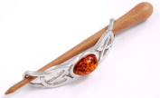St Justin, Pewter Large Cabochon Hair-Slide With Rosewood Pin - Amber