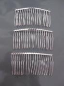 3 COMB04 Wire Silver Hair Comb Wedding Bridal Make Veil Crafts Supply DIY 7.6cm