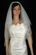 Bridal Veil Wedding 2T White Fingertip Scalloped Teardrop Crystal Beaded Edge