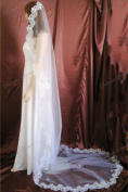 Bridal Veil Wedding 1T White Cathedral Cathedral Lace Mantilla Scalloped Trim