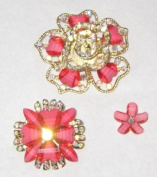 Set of 3 Flower Brooch with Glass Hearts and AB Crystals