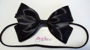 Black Shiny Satin Alice in Wonderland Double Ribbon Hair Bow Headband