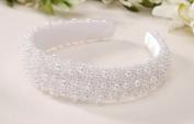 Darice V35231-01 Pearl Beaded Bridal Headband, White, 2.5cm