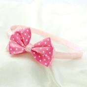Polka Dot Bow Headband for Girls - Light Pink