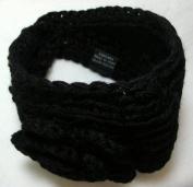 Black Knit Ear Warmer Winter Headband with Flower