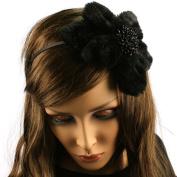 Big Fuzzy Flower Bow Sequins Satin Headband HeadPiece Fascinator Cocktail