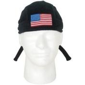 USA Flag Black Fleece Embroidered Headwrap