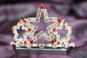 Beautiful New Bridal Wedding Tiara Crown W/ Red Crystal Star DH15722c