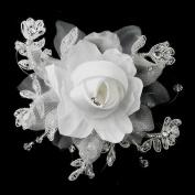 Charla Crystal, Lace, Satin & Organza Flower Wedding Bridal Hair Clip