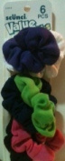 Scunci 6 pc. Hair Scrunchies Purple, White, Navy Blue, Green, Pink, and Black