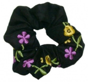 Smoothies Embroidered Flower Scrunchie-Black 00694