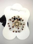 Brown Flower Ponytail Holder with Rhinestones