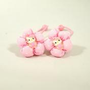 Polka Dot Kitty Elastic Hair Band for Girls (2pc set) - Light Pink