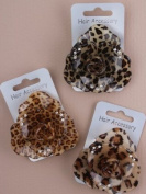 Brown Animal Print Plastic Rose Hair Elastic IN9472