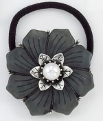 Bejewelled Black Flower Ponytail Holder