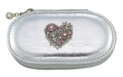 Heart Silver Small Make up Brush Case Set of 5 Brushes