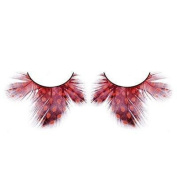 Dark Red spotted Feather Eyelashes nr.621 With free adhesive