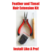 HAIR TINSEL, FEATHERS, HAIR EXTENSION TOOL KIT WITH 100 MICRO LINKS