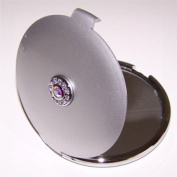 Silver Jewelled 10X/1X Compact Mirror with Clear Crystals