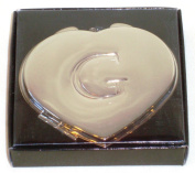 "Valentines Personal Heart Compact Makeup Mirror ""G"""