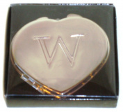"Valentines Personal Heart Compact Makeup Mirror ""W"""