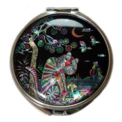 Mother of Pearl Tiger and Magpie Design Purse Double Compact Stainless Steel Round Mirror