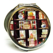 Silver J Designer hand mirror, compact cosmetic double mirror, handmade mother of pearl gift, display shelf