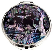 Silver J Hand mirror, compact type, handmade mother of pearl gifts, pine & cranes