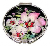 Silver J Mother of pearl hand mirror, compact type, handmade gift, hibiscus